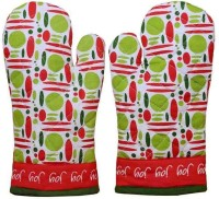 Home Colors Green, Red, White Cotton Kitchen Linen Set Pack Of 2