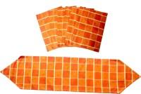 Homeblendz Dining Cotton Kitchen Linen Set Orange, Pack Of 7
