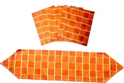 Homeblendz Dining Cotton Kitchen Linen Set Orange, Pack Of 7