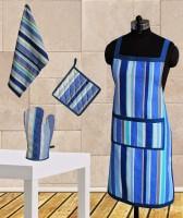 Dekor World Blue Stripe Apron Combo Kitchen Linen Set (Pack Of 4)