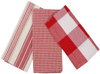 London Lady Red, White Cotton Kitchen Linen Set Pack Of 3
