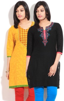 Sneha Self Design Women's Straight Kurta (Pack Of Two Kurtas) - KTAE39NJDZXTPXFF