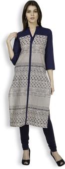 Vishudh Printed Women's Straight Kurta Blue, Beige