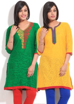 Sneha Self Design Women's Straight Kurta Pack Of Two Kurtas - KTAE39NJS6BZEY2R