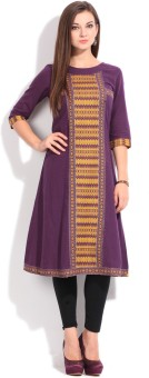 Aurelia Printed Women's Straight Kurta Purple