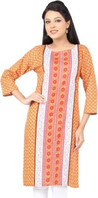 Lifestyle Lifestyle Retail Printed Women's Straight Kurta (Orange)