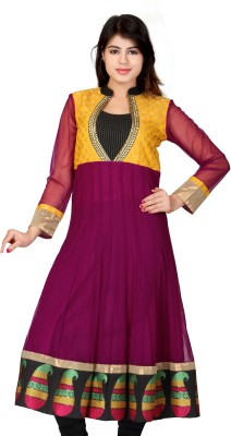 Lifestyle Lifestyle Retail Self Design Women's Anarkali Kurta (Violet)