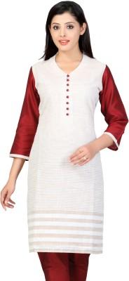 Lifestyle Lifestyle Retail Striped Women's Straight Kurta (Beige\/Sand\/Tan)
