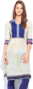 Aurelia Printed Women's Straight Kurta White, Beige, Blue