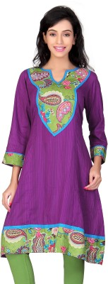 Lifestyle Lifestyle Retail Self Design Women's A-Line Kurta (Violet)