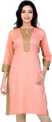 Lifestyle Lifestyle Retail Self Design Women's Straight Kurta (Orange)