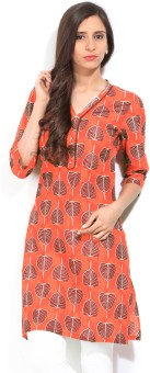 Aurelia Printed Women's Straight Kurta Orange, Brown