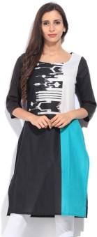 W Printed Women's Straight Kurtas White, Black, Blue