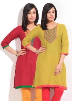 Sneha Self Design Women's Straight Kurta (Pack Of Two Kurtas)
