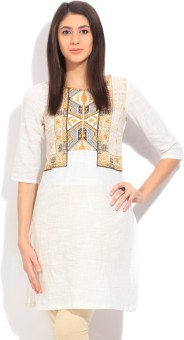 W Printed Women's Straight Kurtas White, Yellow