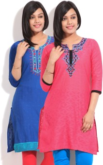 Sneha Self Design Women's Straight Kurta Pack Of Two Kurtas