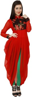 Lady In Red Solid Women's Flared Kurta