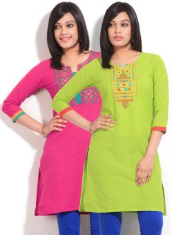 Sneha Solid Women's Straight Kurta (Pack Of Two Kurtas)