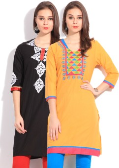 Anksh Solid Women's Kurta (Pack Of 2)
