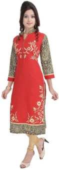 Bright Cotton Printed Women's Straight Kurta Red