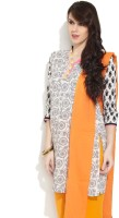 Victor Brown Floral Print Women's Straight Kurta