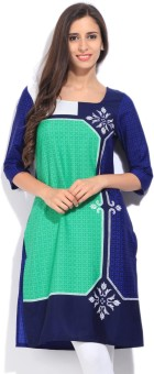 W Printed Women's Straight Kurtas White, Blue, Green