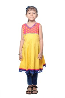 Stop To Start By Shoppers Stop Embellished Girl's Straight Kurta