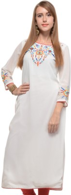 Myra Myra Casual, Party, Festive Full Sleeve Solid Women's Kurti (White)