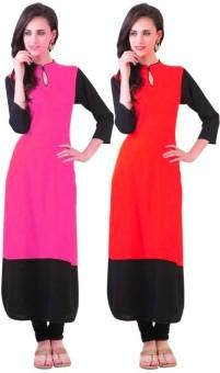 Pooja Fashions Formal Self Design Women's Kurti Pack Of 2, Pink, Red