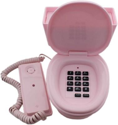 Tootpado Toilet Shaped Corded Landline Telephone - Novelty Home Decor Creative Fixed Line Phone Corded Landline Phone (Pink)