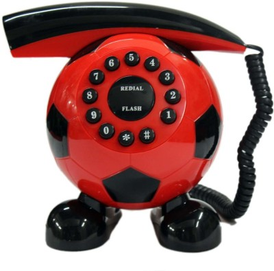 Tootpado Football Shape Phone Corded Telephone Landline Corded Landline Phone (Red)