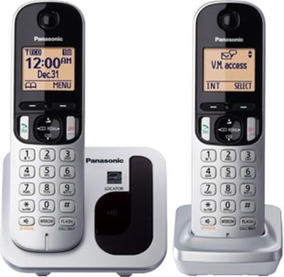 Panasonic KX-TGC212 Cordless Landline Phone (Silver, black, white)