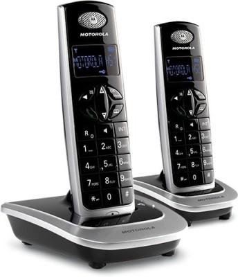 MOTOROLA D502 TWIN Cordless Landline Phone (BLACK-SILVER, WHITE-SILVER)