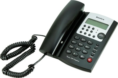 Sonics FK-HT-747 Black Corded Landline Phone (Black)