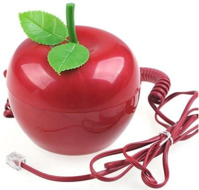 Tootpado Apple Shape Wired Telephone with Led Eyes Corded Landline Phone (Red)