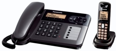 Panasonic KX-TG 6451 Corded & Cordless Landline Phone (Black)
