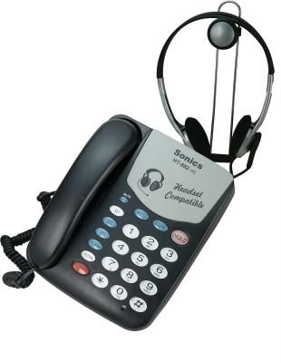 Sonics HT-882-HS Corded Landline Phone (BLACK)
