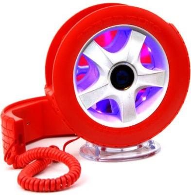 Tootpado Wheel Shape Telephone With LED Light Office Corded Landline Phone (Red)