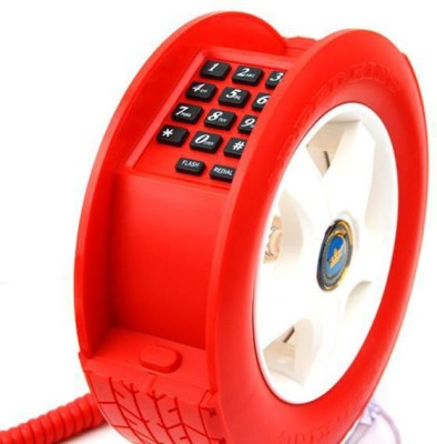 Tootpado Wheel Shape Telephone With LED Light Office Corded Landline Phone (Red)