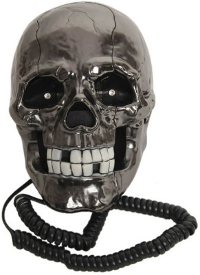 Tootpado Skull Shape Wired with Led Eyes Corded Landline Phone (Black)