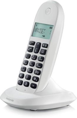 Motorola C1001Li Cordless Landline Phone (White BLK Keys)