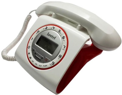 Beetel M73 Stylish Retro Design Corded Landline Phone (White, Red)