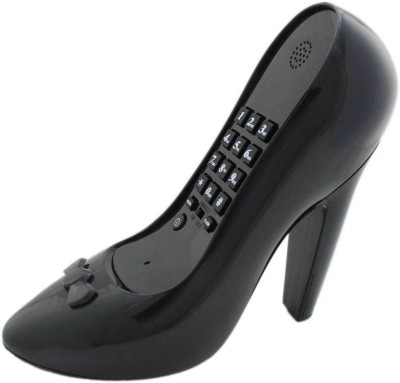 Tootpado Shoe Shaped Corded Landline Telephone - Novelty Home Decor Creative Fixed Line Phone Corded Landline Phone (Black)