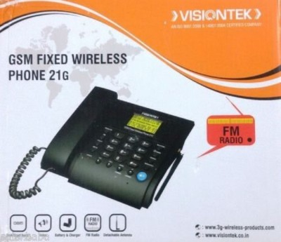 Visiontek Fixed Wireless Phone 21G Corded Landline Phone (Black)