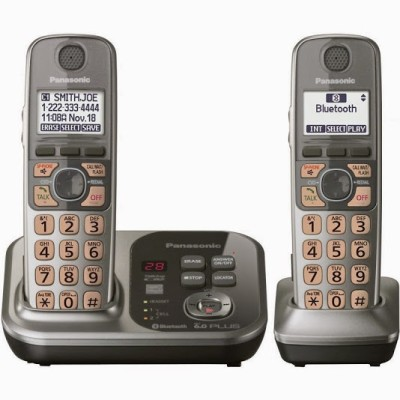 Panasonic PA-KX-TG-7732 Cordless Landline Phone with Answering Machine (Black)