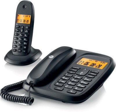 Motorola Cl101| Black Corded & Cordless Landline Phone (Black)