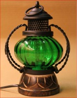Pindia Electric Lamp Holder Home Décor Decorative Table Lamp Hanging Lantern Stand Tea Light Gift Item Green Iron, Wooden, Glass Lantern (7 Cm X 5 Cm, Pack Of 1)
