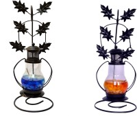 My Art Combo Blue, Orange Iron, Glass Lantern (26 Cm X 10 Cm, Pack Of 2)