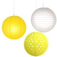 Christmastreeshops.in Paper Lantern (Yellow, White, Pack Of 3)