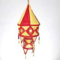 Smile2u Retailers Rajasthani Embroidered Red Cotton Lantern (70 Cm X 35 Cm, Pack Of 1)